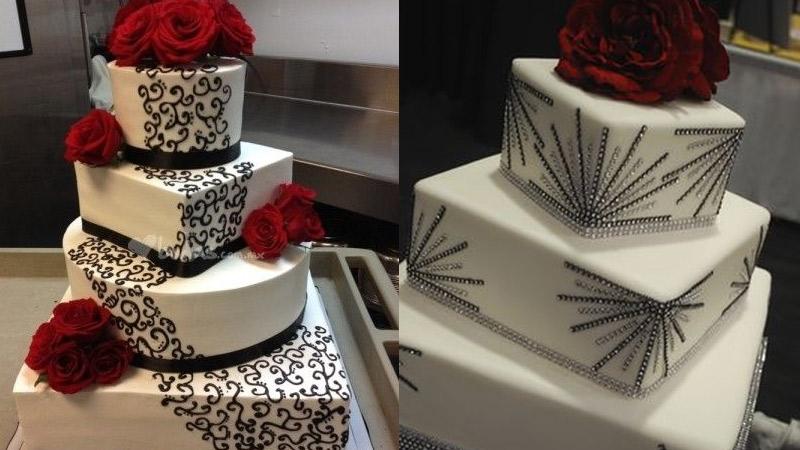 Tortas cuadradas de matrimonio con flores