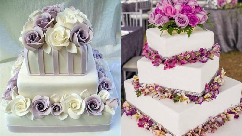 Tortas de Matrimonio cuadradas de varios pisos y con flores de colores.