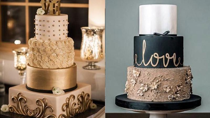 Tortas Elegantes en Dorado o blanco y negro