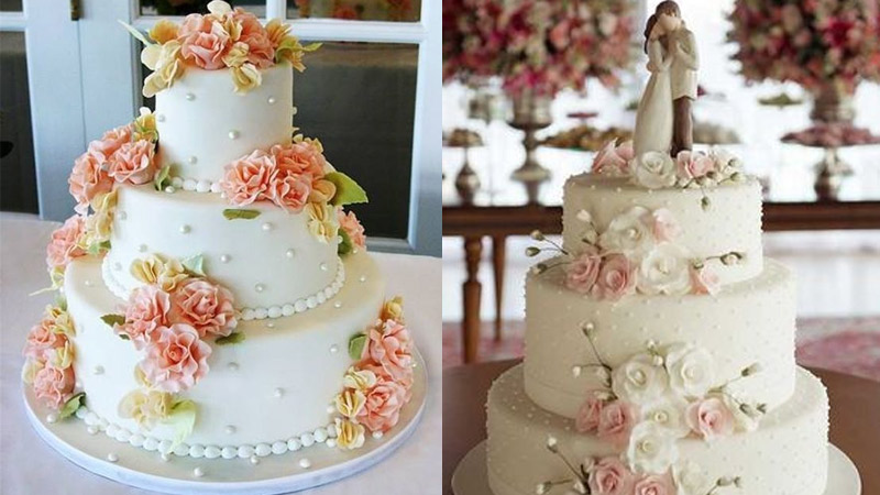 Tortas de matrimonio en tres pisos y decoradas con flores