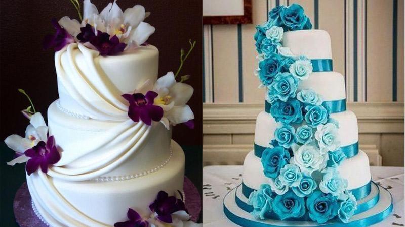 Tortas de boda redondas con flores de colores