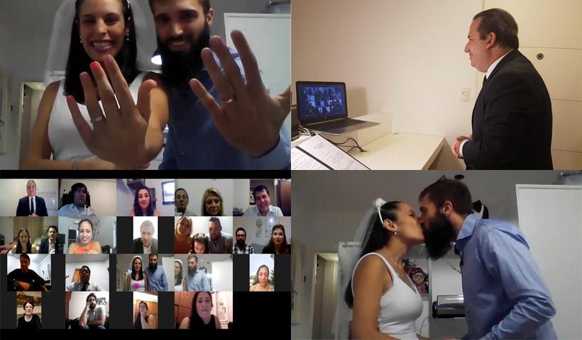 Matrimonio virtual oficiada en plena pandemia